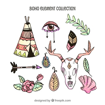 Mão desenhada coleção de elemento boho