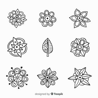 Mão desenhada coleção de elemento de decoração floral
