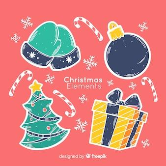 Mão desenhada coleção de elemento de natal