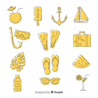 Mão desenhada coleção de elemento de verão