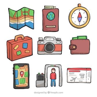 Mão desenhada coleção de elemento de viagem