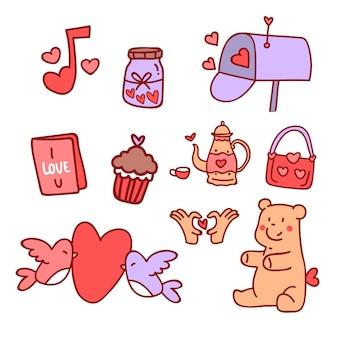 Mão desenhada coleção de elementos de dia dos namorados