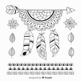 Mão desenhada coleção de elementos de estilo boho