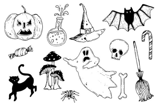 Mão desenhada coleção de elementos de halloween