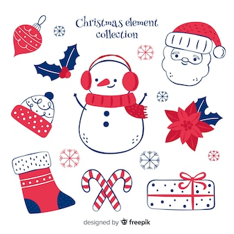 Mão desenhada coleção de elementos de natal