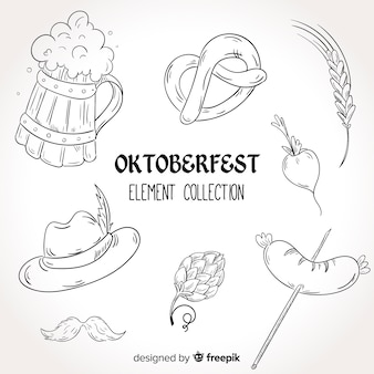 Mão desenhada coleção de elementos oktoberfest