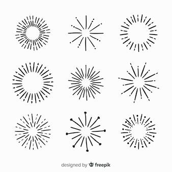 Mão desenhada coleção de elementos sunburst
