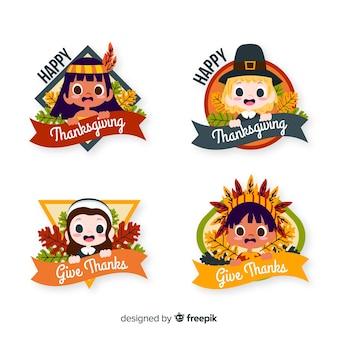 Mão desenhada coleção de emblemas do dia de ação de graças