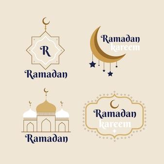 Mão desenhada coleção de emblemas do ramadã