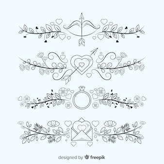 Mão desenhada coleção de enfeite de casamento