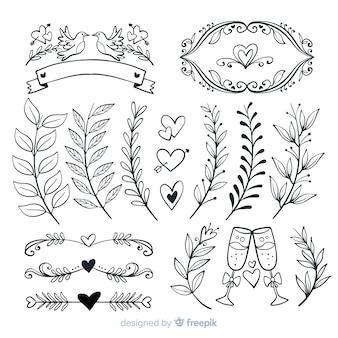 Mão desenhada coleção de enfeites de casamento