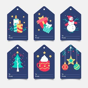 Mão desenhada coleção de etiquetas de natal