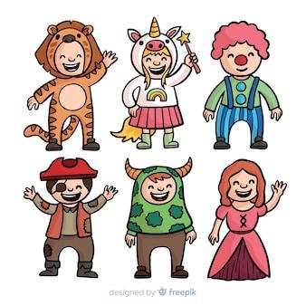 Mão desenhada coleção de fantasia de carnaval de crianças