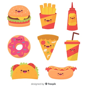 Mão desenhada coleção de fast food kawaii
