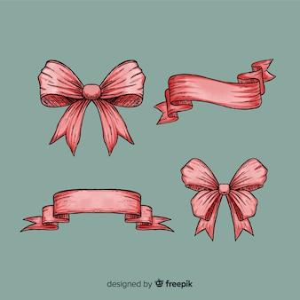 Mão desenhada coleção de fita de natal