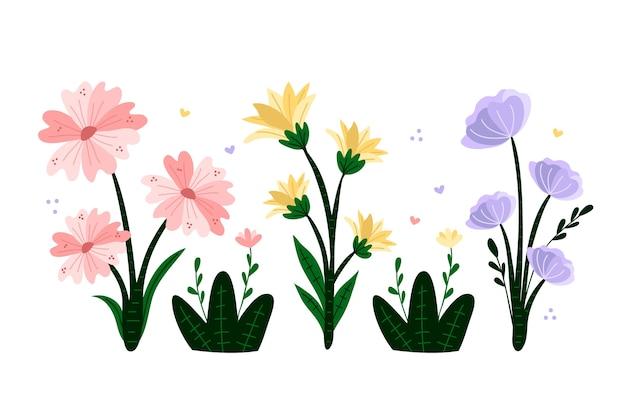 Mão desenhada coleção de flores coloridas da primavera