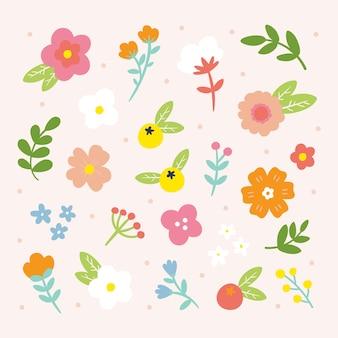 Mão desenhada coleção de flores de primavera
