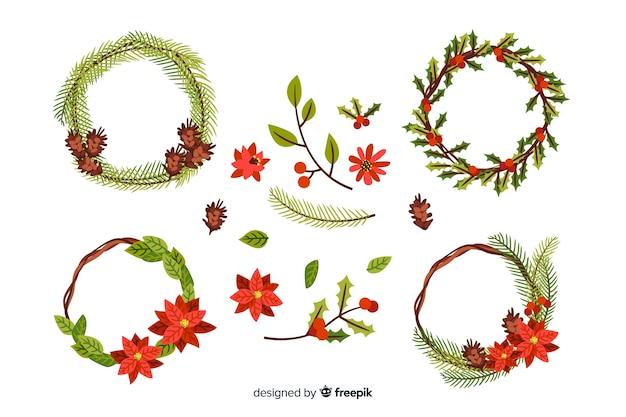 Mão desenhada coleção de flores e grinalda de natal