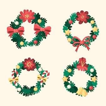 Mão desenhada coleção de flores e grinaldas de natal