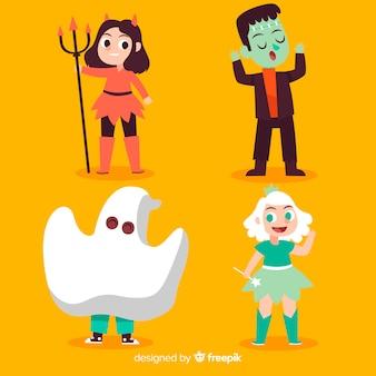 Mão desenhada coleção de garoto engraçado halloween