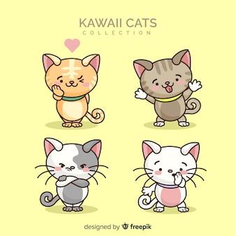 Mão desenhada coleção de gato kawaii
