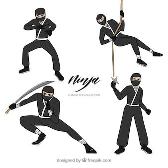Mão desenhada coleção de guerreiro ninja