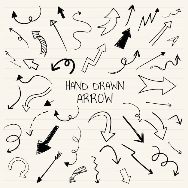 Mão desenhada coleção de ilustração de seta