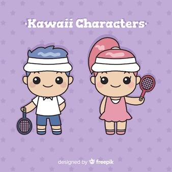 Mão desenhada coleção de jogador de tênis kawaii
