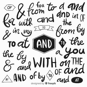 Mão desenhada coleção de letras de palavras de ordem