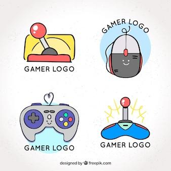 Mão desenhada coleção de logotipo de joystick com estilo vintage