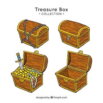 Mão desenhada coleção de madeira baú de tesouro