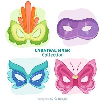 Mão desenhada coleção de máscara de carnaval