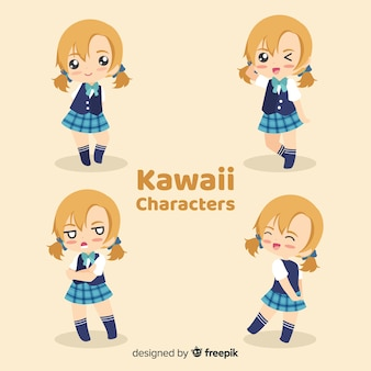 Mão desenhada coleção de meninas sorridente kawaii
