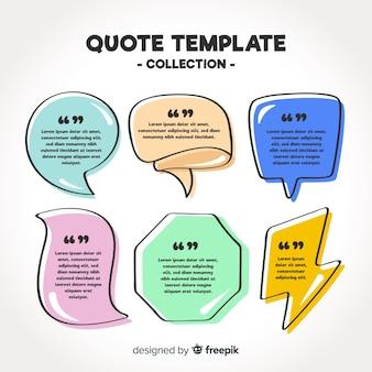 Mão desenhada coleção de modelo de citação