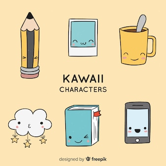 Mão desenhada coleção de objetos kawaii