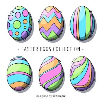 Mão desenhada coleção de ovos de páscoa dia