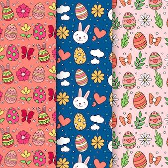 Mão desenhada coleção de padrão de dia de páscoa