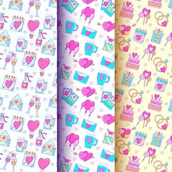Mão desenhada coleção de padrão de dia dos namorados com balões e anéis