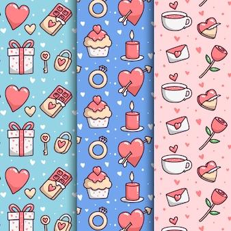 Mão desenhada coleção de padrão de dia dos namorados