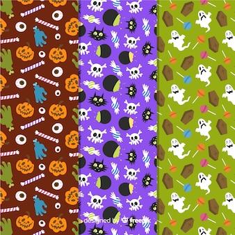 Mão desenhada coleção de padrão de elementos de halloween