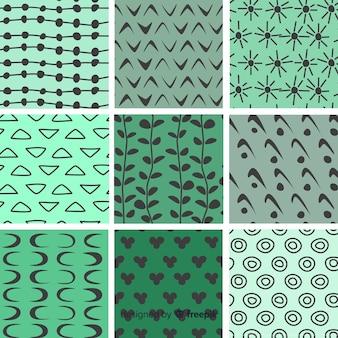 Mão desenhada coleção de padrão de forma abstrata