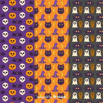 Mão desenhada coleção de padrão de halloween