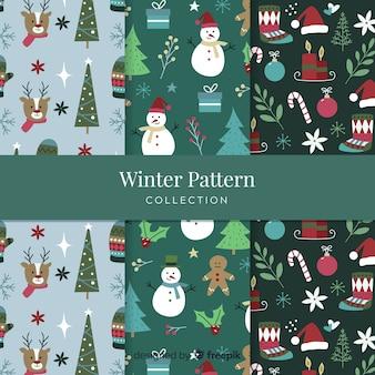 Mão desenhada coleção de padrão de inverno