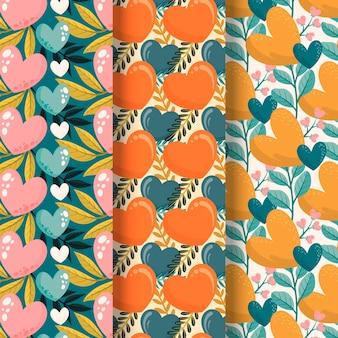 Mão desenhada coleção de padrões de coração fofo