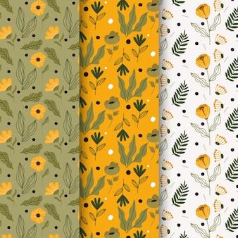 Mão desenhada coleção de padrões de primavera