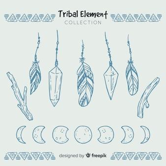 Mão desenhada coleção de penas tribais