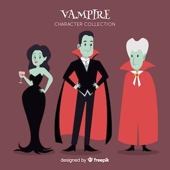 Mão desenhada coleção de personagem de vampiro de halloween
