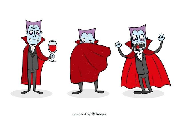 Mão desenhada coleção de personagem de vampiro no vermelho