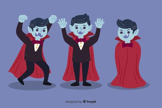 Mão desenhada coleção de personagem de vampiro