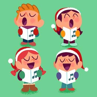 Mão desenhada coleção de personagens de natal